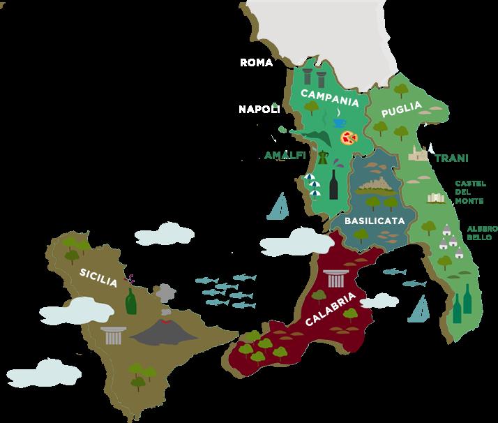 南イタリアの地図